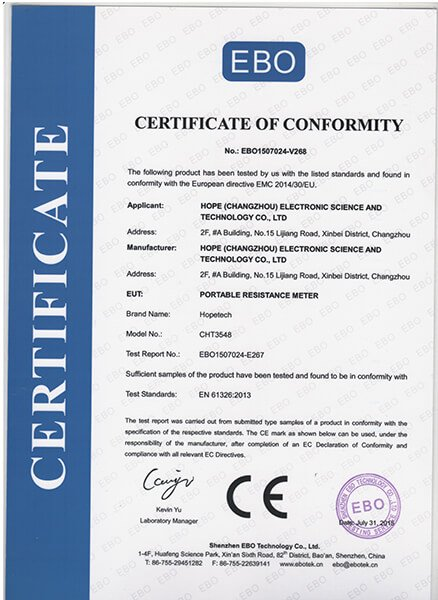 CE certificate for 3548 handheld resistance tester