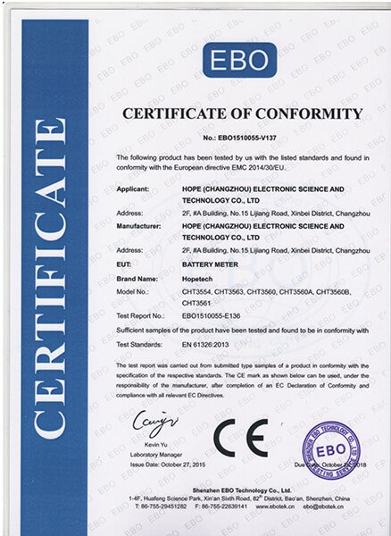CE certificate for 3554 3563 series batter tester