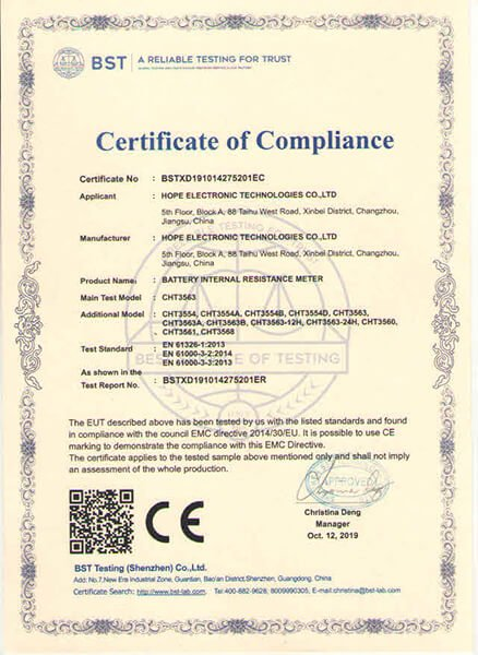 updated CE certificate for 3554 3563 series batter tester