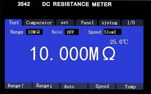 HT3542desktop DC resistance tester operation interface